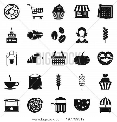Afternoon snack icons set. Simple set of 25 afternoon snack icons for web isolated on white background