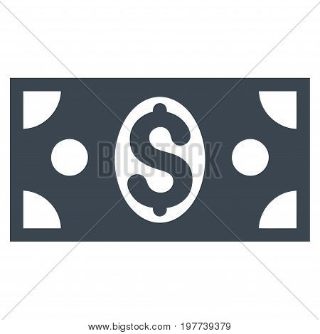 Dollar Banknote vector icon. Flat smooth blue symbol. Pictogram is isolated on a white background. Designed for web and software interfaces.