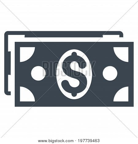 Dollar Banknotes vector icon. Flat smooth blue symbol. Pictogram is isolated on a white background. Designed for web and software interfaces.