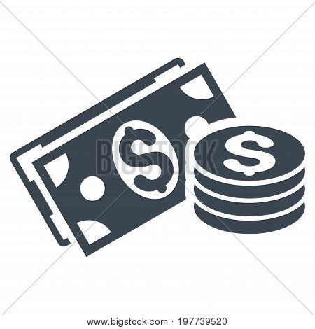 Dollar Cash vector icon. Flat smooth blue symbol. Pictogram is isolated on a white background. Designed for web and software interfaces.