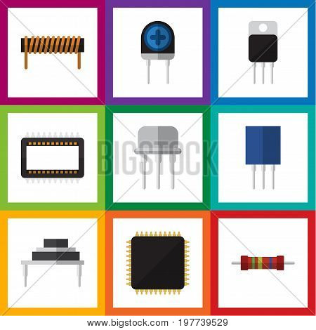 Flat Icon Device Set Of Cpu, Mainframe, Receptacle And Other Vector Objects