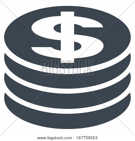 Dollar Coin Column vector icon. Flat smooth blue symbol. Pictogram is isolated on a white background. Designed for web and software interfaces.