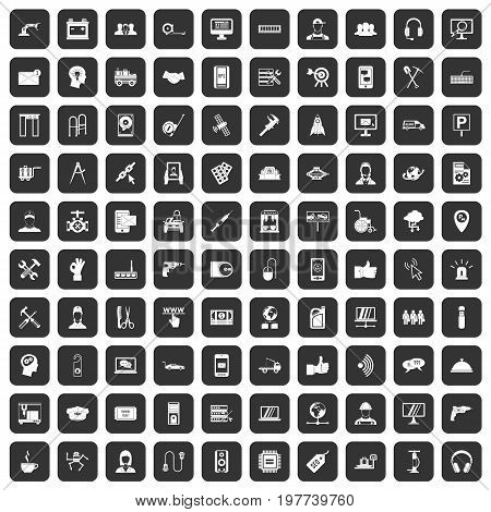100 support center icons set in black color isolated vector illustration