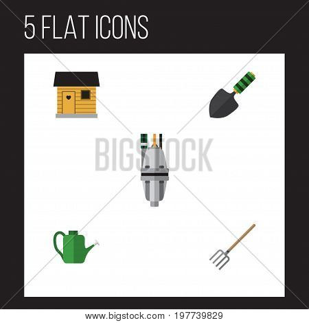 Flat Icon Farm Set Of Pump, Bailer, Trowel And Other Vector Objects