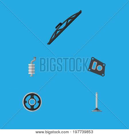 Flat Icon Auto Set Of Car Segment, Windshield, Belt And Other Vector Objects