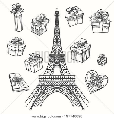 Gifts from Paris vector illustration. Eiffel tower and gift boxes
