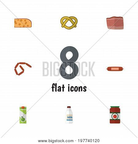 Flat Icon Food Set Of Bratwurst, Packet Beverage, Cheddar Slice And Other Vector Objects