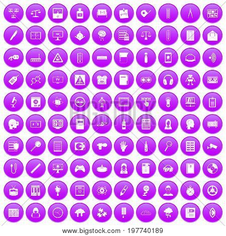 100 information icons set in purple circle isolated on white vector illustration