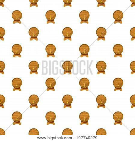 Wooden beer keg pattern seamless repeat in cartoon style vector illustration