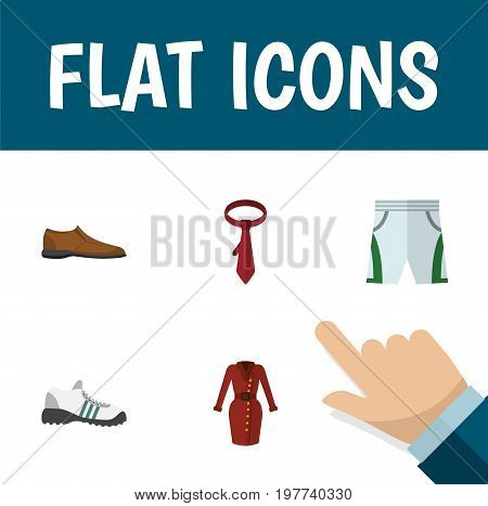 Flat Icon Dress Set Of Clothes, Trunks Cloth, Cravat And Other Vector Objects