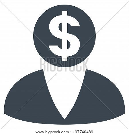 Financier vector icon. Flat smooth blue symbol. Pictogram is isolated on a white background. Designed for web and software interfaces.