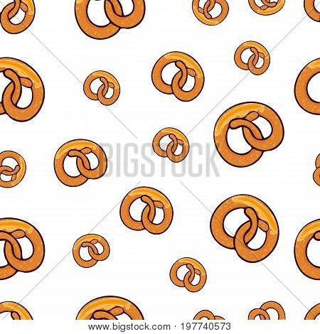 Pattern with many delicious go wild pretzels with slice of butter for poster, menus, brochure, web and icon fastfood. Cartoon style with outline on white background