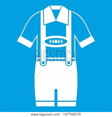 T-shirt and pants with suspenders icon white isolated on blue background vector illustration