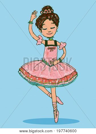 Adorable brunette ballerina girl dancing in shiny pink dress. Isolated illustration with chalk brush touches on light-blue background