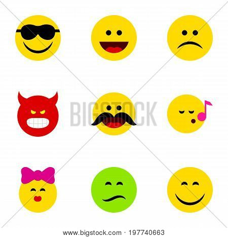 Flat Icon Expression Set Of Caress, Smile, Happy And Other Vector Objects