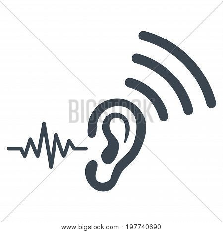 Listen And Transmit vector icon. Flat smooth blue symbol. Pictogram is isolated on a white background. Designed for web and software interfaces.