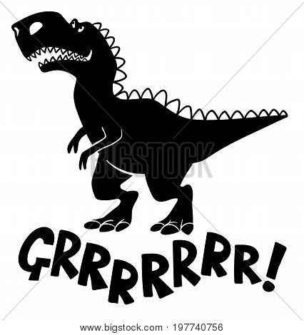 A simple black cartoon T-Rex dinosaur saying Grrrr!