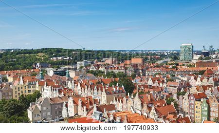 Panorama of the old town of Gdansk top view