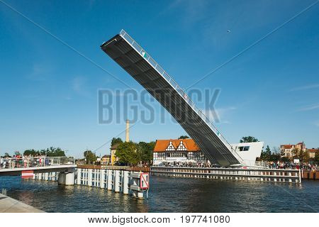Gdansk Poland - July 22 2017: People are waiting for the drawbridge to sink in the harbor of Gdansk
