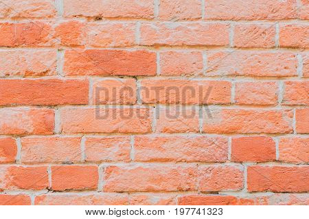 Rough red brick wall. Texture of brickwork for modern background, pattern, wallpaper or banner design