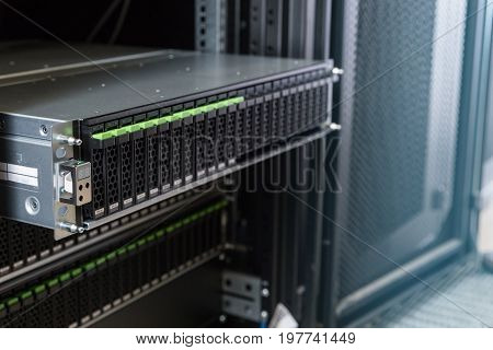 many hard disks drive in enclosure in the storage system in the data center