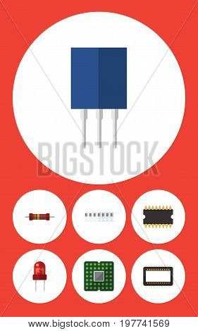 Flat Icon Appliance Set Of Mainframe, Receptacle, Unit And Other Vector Objects