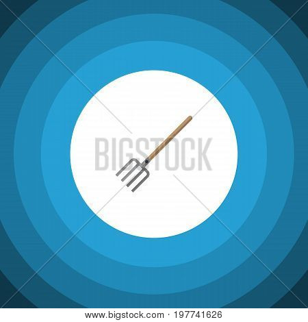 Hay Fork Vector Element Can Be Used For Fork, Pitchfork, Tool Design Concept.  Isolated Pitchfork Flat Icon.