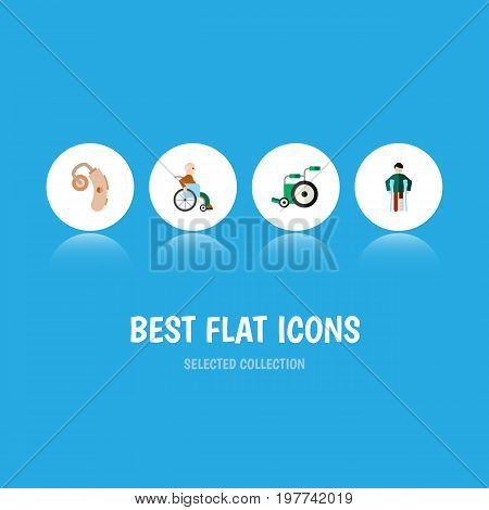 Flat Icon Handicapped Set Of Handicapped Man, Audiology, Injured Vector Objects