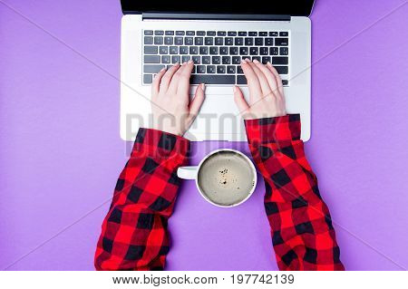 Businesswoman Hands With Laptop And Cup Of Coffee