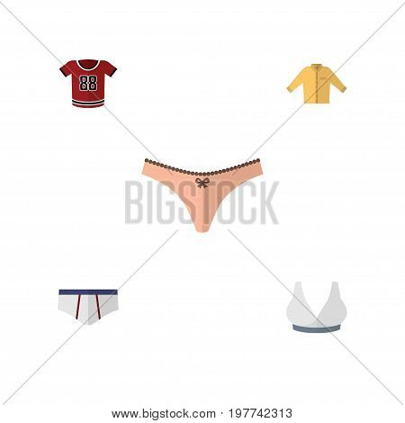 Flat Icon Garment Set Of Underclothes, Brasserie, T-Shirt And Other Vector Objects