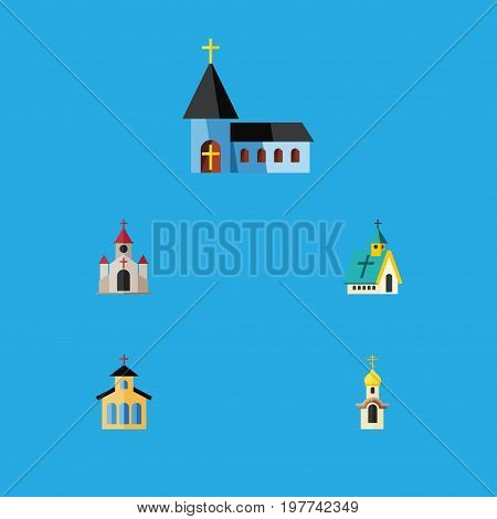 Flat Icon Building Set Of Architecture, Christian, Catholic And Other Vector Objects