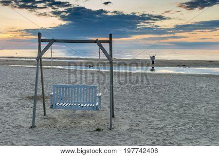 Sunset at a public domain beach of Jurmala - famous international resort in Latvia, Europe