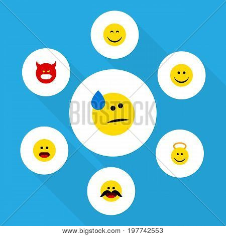 Flat Icon Gesture Set Of Tears, Angel, Cheerful And Other Vector Objects