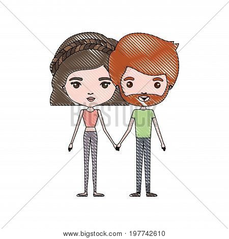 crayon colored silhouette of slim couple standing caricature and him with short red hair and beard and her with pants and wavy short hairstyle vector illustration