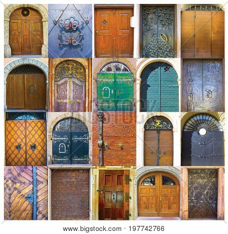 Collage of 20 old doors coming from Salzburg, Austria.