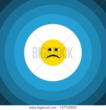 Sad Vector Element Can Be Used For Sad, Frown, Emoji Design Concept.  Isolated Frown Flat Icon.