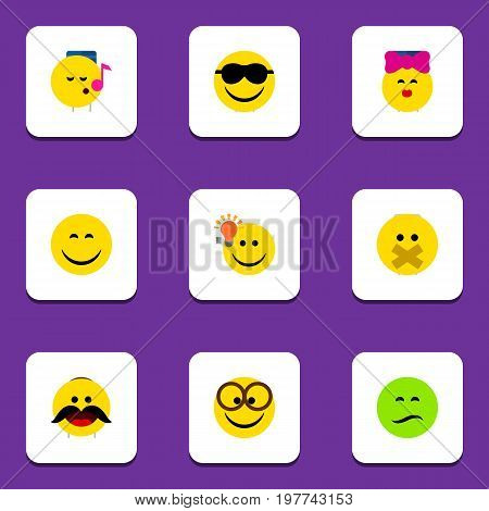 Flat Icon Face Set Of Pleasant, Caress, Have An Good Opinion And Other Vector Objects