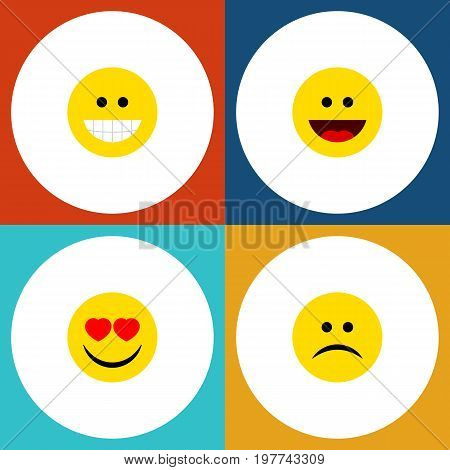Flat Icon Expression Set Of Grin, Love, Laugh And Other Vector Objects