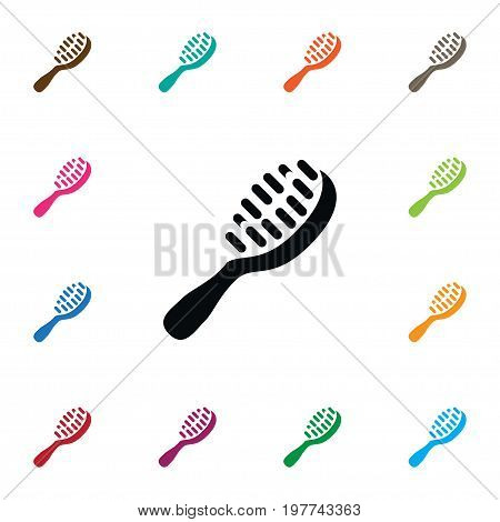 Styling Brush Vector Element Can Be Used For Hackle, Hairbrush, Brush Design Concept.  Isolated Hackle Icon.