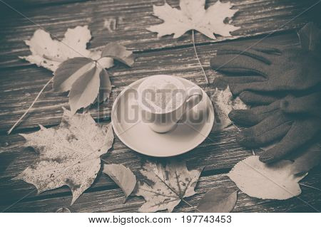 Autumn Leaves, Gloves And Coffee Cup On Wooden Table.