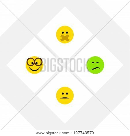 Flat Icon Expression Set Of Displeased, Frown, Pleasant And Other Vector Objects
