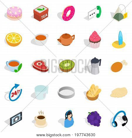 Tea and bun icons set. Isometric set of 25 tea and bun vector icons for web isolated on white background