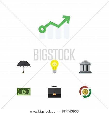 Flat Icon Gain Set Of Interchange, Parasol, Greenback And Other Vector Objects