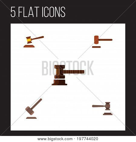Flat Icon Court Set Of Defense, Government Building, Hammer And Other Vector Objects