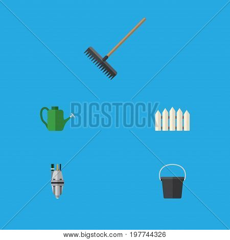 Flat Icon Dacha Set Of Pail, Bailer, Harrow And Other Vector Objects