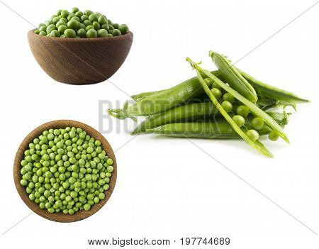 Green peas isolated on a white background. Vegetables with copy space for text. Set of green peas.