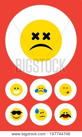 Flat Icon Gesture Set Of Tears, Grin, Cold Sweat And Other Vector Objects