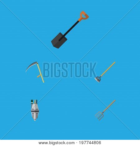 Flat Icon Farm Set Of Hay Fork, Spade, Cutter And Other Vector Objects