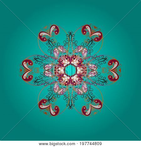 Snowflakes background. Snowflake ornamental pattern. Vector illustration. Snowflakes pattern. Flat design with abstract snowflakes isolated on colorful background.