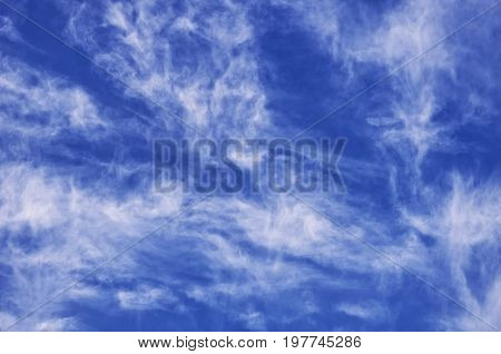 Wispy white clouds and blue sky in Nanjing China.